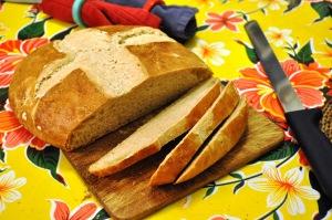 100% spelt loaf, sliced