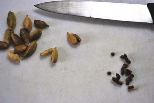 Cardamom pods and seeds