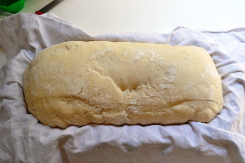 Dough, in proving basket, proved