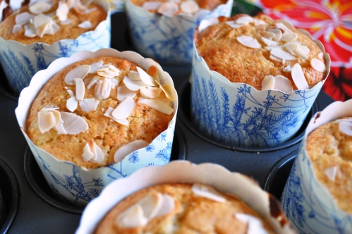 Freshly baked plum and almond muffins