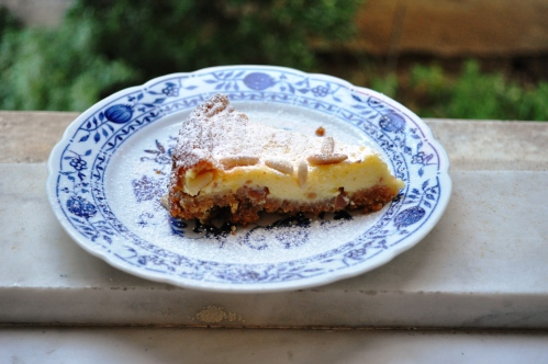 Pine nut cheesecake slice, cheesecake della nonna