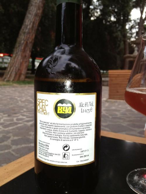 B94 Specchia White Night's label, at Tree Bar, Rome