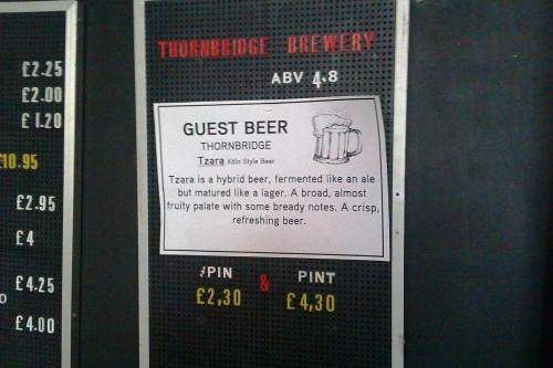 Thornbridge Tzara at the Cut Bar, London