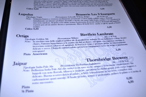 Birrifugio beer menu