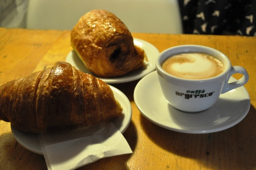 Cornetto, saccottino and cappucino at Baylon Cafe, Trastevere, Rome