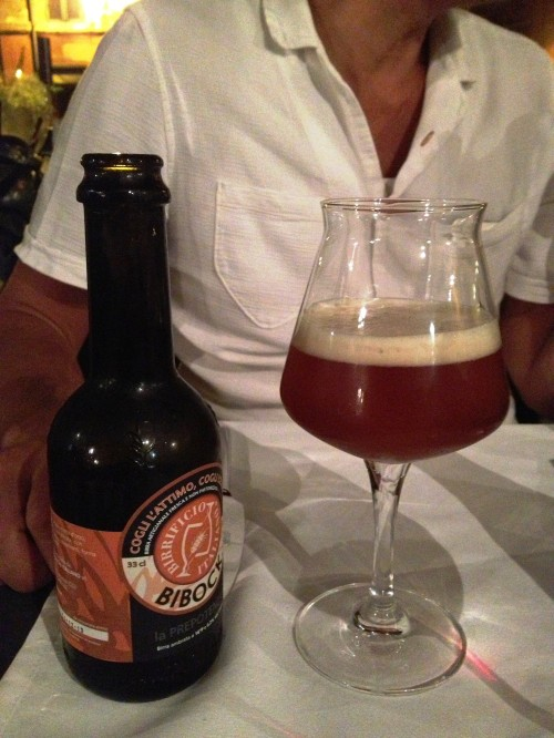 Bibock from Birrificio Italiano at Antica Foccaceria di San Francesco, Trastevere, Rome