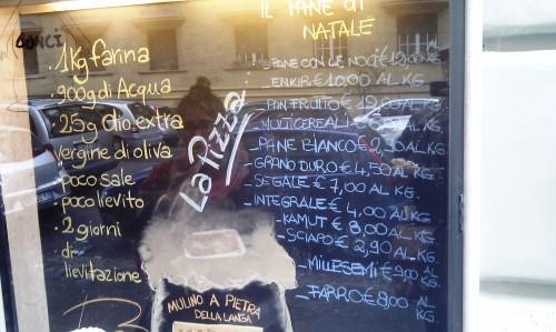 Recipe in the window of Bonci bakery, Dec 2012