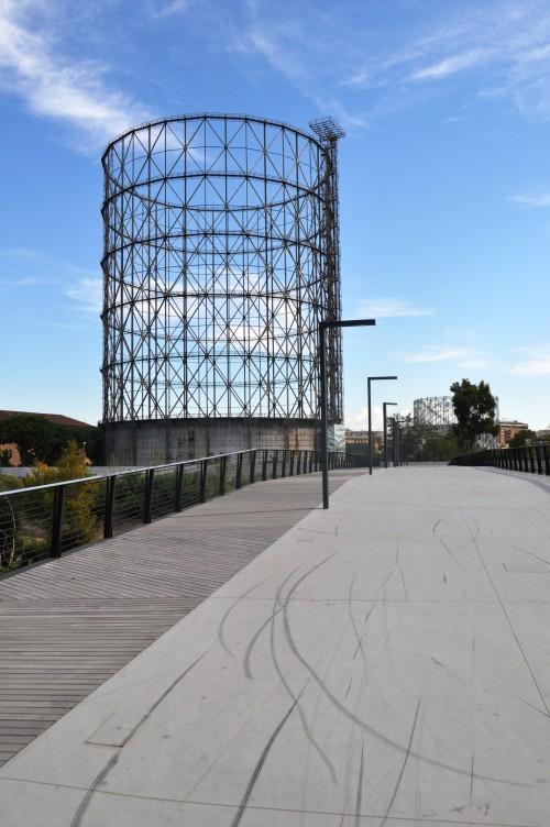 Ponte della scienza and gasometer, Rome
