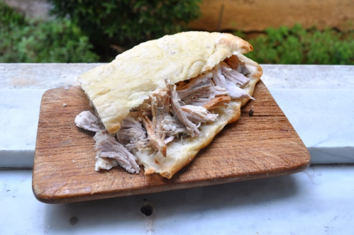 Pizza bianca with porchetta