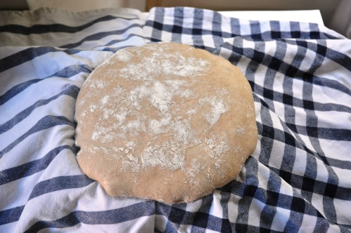 Beer barm bread dough, proved