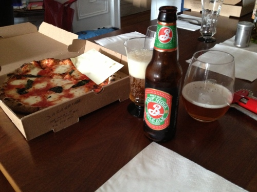 BK IPA and Saranghina pizza