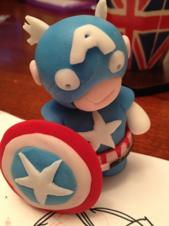 Captain America sugar paste figure