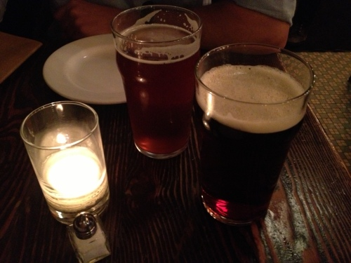 Beers at Magnolia: Proving Ground IPA and Sara's Ruby Mild (right)