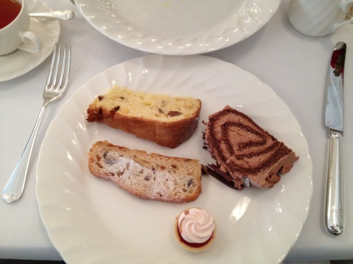 Stollen, panettone, yule log at Raffle Christmas high tea