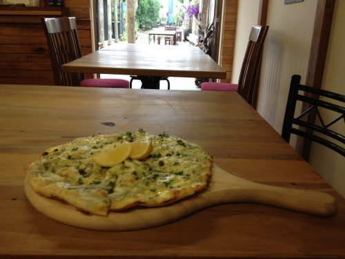 Whitebait pizza