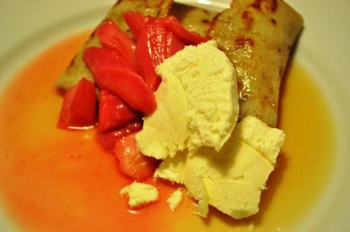 Buckwheat pancakes with rhubarb compote