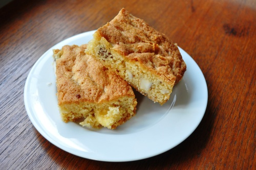 White chocolate maple Brazil nut blondies