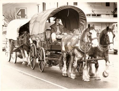 Me driving wagon through Westport, New Zealand, 1989