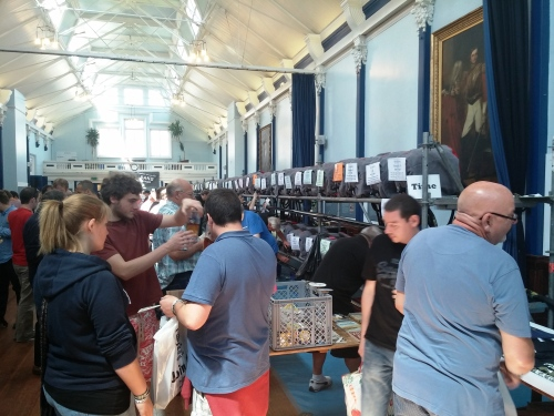 18th South Downs Beer Festival in Lewes town hall. With many empty casks.