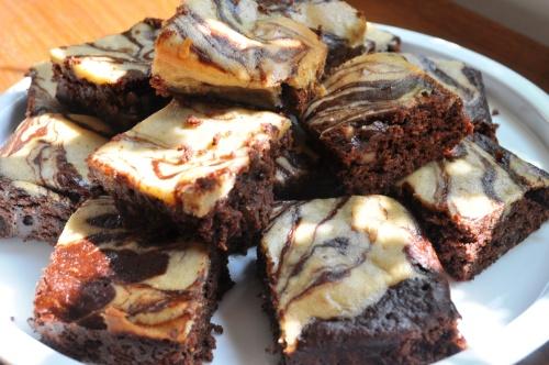 Pile of tahini brownies
