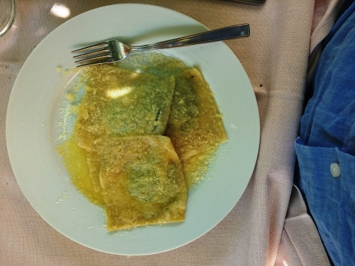 Giant ravioli of ricotta and spinach at Cesare a Casaletto
