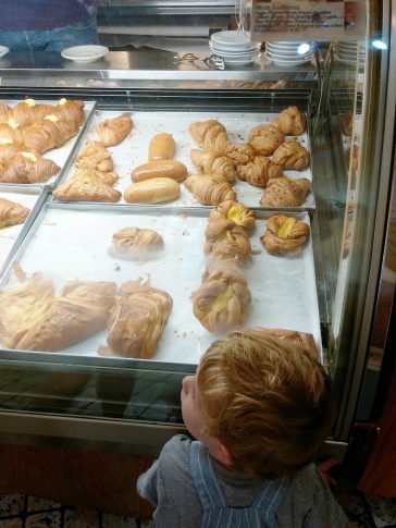 Luca and the pastry display