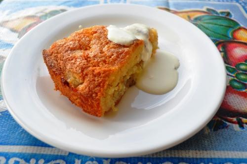 Slice of gooseberry thyme cake