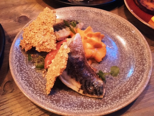 Rare mackerel, with peanut crisps and a tomato foam