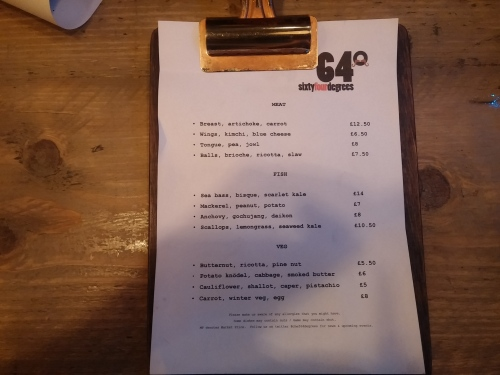 64 Degrees menu 20 November 2014