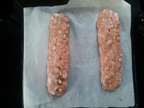 Christmas biscotti, logs, unbaked