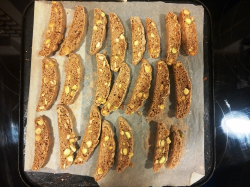 Christmas biscotti, sliced