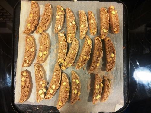 Christmas biscotti, sliced