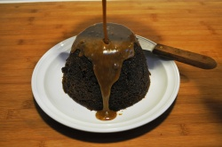 Sticky toffee pudding - drizzle with sauce 2