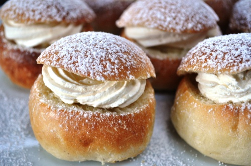 Semlor, semla, fastelavnsbolle close-up