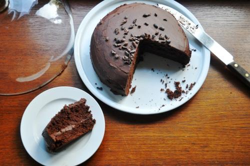 Chocolate cake with coca nib sprinkles