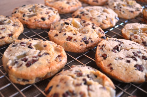 Cocoa nib and crystallized ginger cookies
