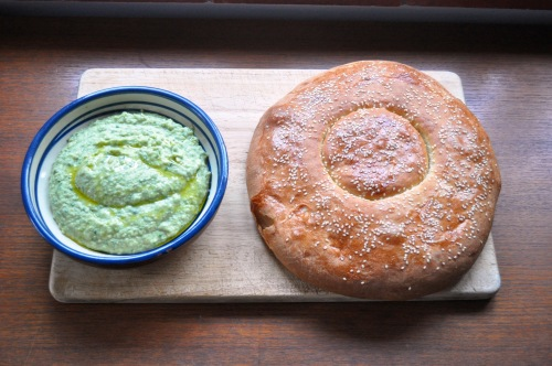 Peda with wild garlic fava dip