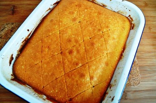 Revani cake - score a diamond pattern