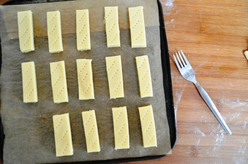 Shortbread fingers - prick with a fork
