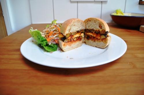 Khobz bun with aubergine halloumi 2