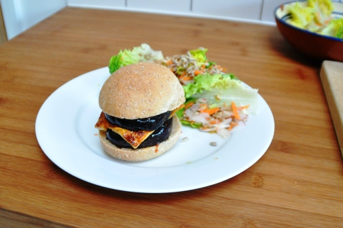 Aubergine and halloumi burger with khobz bun