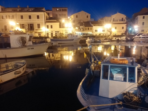 Fishing boats and Il Ghiottone (centre rear), La Maddalena