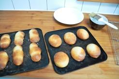 Michette, baked, caster sugar