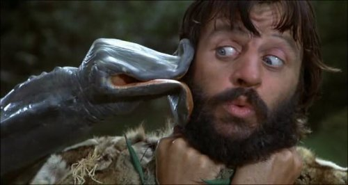 Ringo Starr's Atouk gets kissed by a strange plant in the 1981 film Caveman.