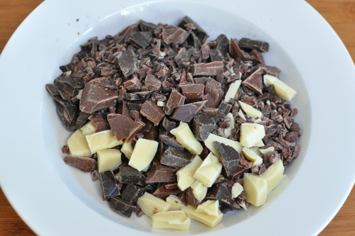 Three types of chocolate chunks and cocoa nibs