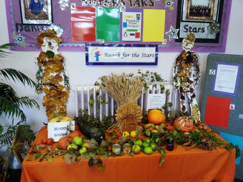 School harvest festival display