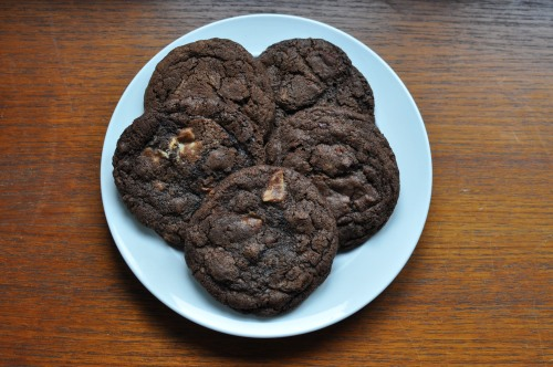 Plate of quintuple chocolate chip cookies