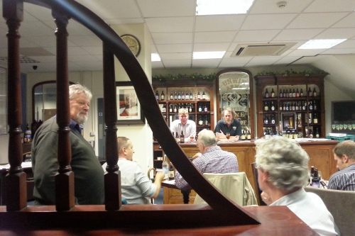 Rev Godfrey Broster of Rectory Ales (left), Edmund Jenner and Robin Thorpe of Harveys (behind the bar)