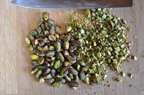 Roughly chop pistachios