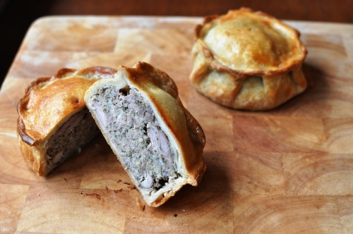 Game pies with hot water crust